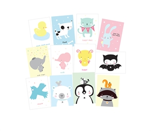 Postcard set Cute animal
