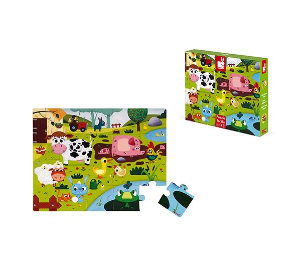 Janod Tactile Puzzle Farm Animals 20 pieces